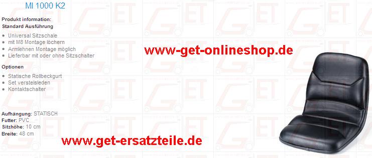 Fahrersitze MI 1000 K2, MI 400, MI 560 K2, 9800/337, 9500/517, 9000/517  geeignet für Gabelstapler, Baumaschinen und Trakoren von GET Gabelstapler – Ersatzteile & Transportgeräte 99438 Bad Berka Thüringen