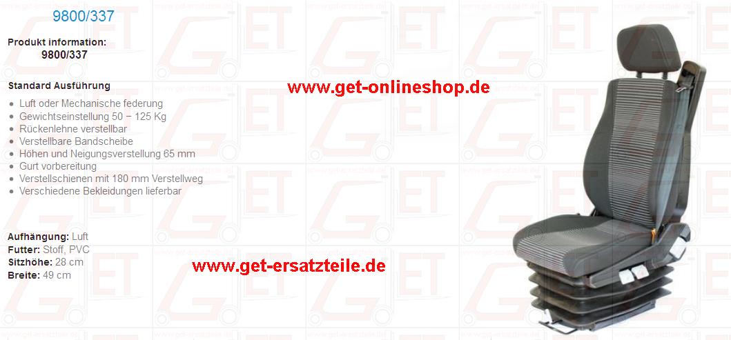 Fahrersitze, Sitzschalen, Sitzkissen, Schubmaster, Minibagger, Traktor, Gabelstapler, Ersatzteile
