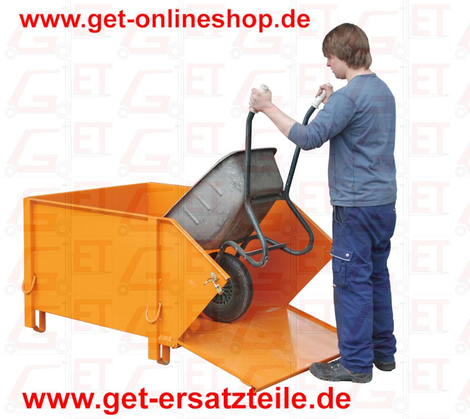Baustoff-Behälter Typ BBK 100 Unentbehrliche Helfer bei Sanierungs-, Neubau- oder Modernisierungsarbeiten     3-fach stapelbar     stabile Konstruktion aus glattem Stahlblech     mit klappbarer Schüttwand zum einfachen Beladen,     z.B. mit Schubkarre     verstärkte Verstrebung an der Unterseite der Vorderklappe     beidseitige Verriegelung zum Schließen der Vorderklappe Oberfläche     lackiert:      orange RAL 2000      rot RAL 3000      blau RAL 5012      grün RAL 6011      grau RAL 7005     feuerverzinkt nach EN ISO 1461   Zubehör     Aufnahmezapfen zum Auskippen mit     Kipptraverse Typ BBT     verzinkter Deckel, abschließbar