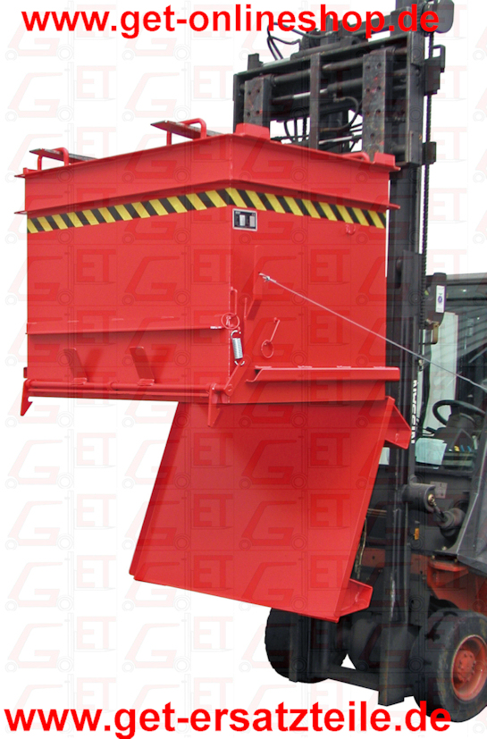 BAUSTOFF-CONTAINER TYP BC 500 - 1000 Inhalt 0,5 - 1,0 m3 Die bessere Logistik für eine wirtschaftliche Baustellenversorgung     stabile Konstruktion für robusten Einsatz     Bodenentleerung     verstärkte Bodenklappe mit 2 Verriegelungen     Entriegelung der Bodenklappe per Seilzug     Aufnahmen für Gabelhubwagen, Gabelstapler und Ladekran     Spezial-Randprofil für allseitige Steinklammer-Aufnahme     stapelbar Oberfläche lackiert:      orange RAL 2000      rot RAL 3000      blau RAL 5012      grün RAL 6011      grau RAL 7005 feuerverzinkt EN ISO 1461     feuerverzinkt nach EN ISO 1461 Zubehör:     2-teiliger verzinkter Deckel     2 Lenk + 2 Bockrollen aus Polyamid Ø 180 mm, davon eine Lenkrolle mit Feststeller - Bauhöhe 220 mm     Entriegelung der Bodenklappe mit Steinklammer Sonderausführungen lieferbar