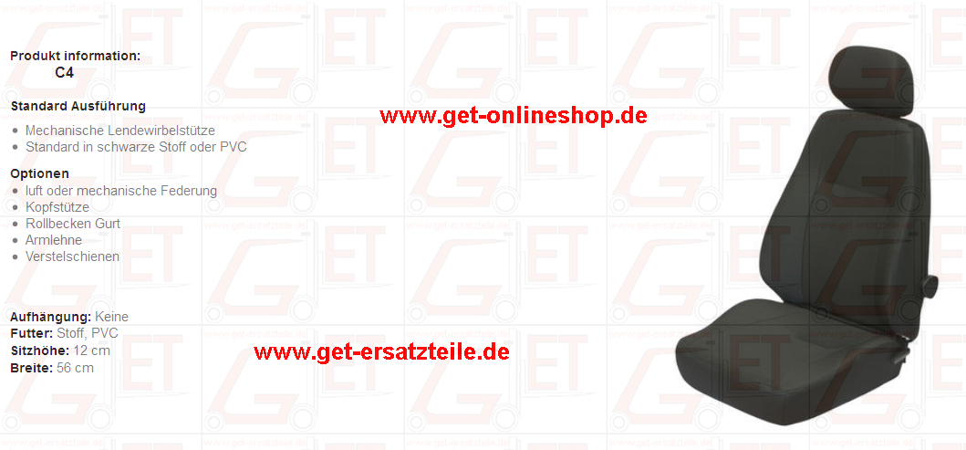 Sitz, Sitzgurt, Ersatzteile, Nackenstütze, Armlehne, Fahrersitz GET Gabelstapler-Ersatzteile