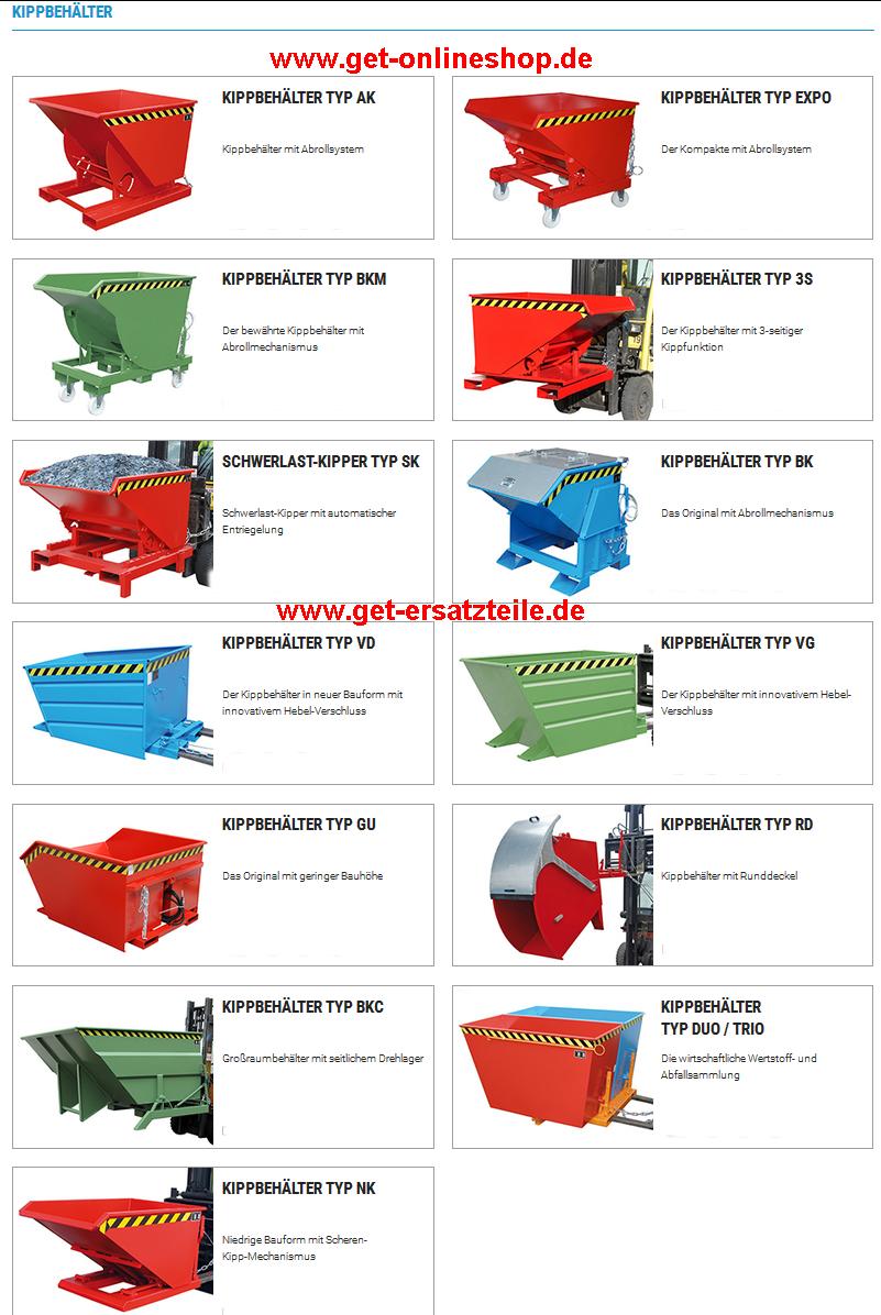 Kippbehälter - Anbaugeräte für Gabelstapler, Baumaschinen (Radlader), usw. von GET