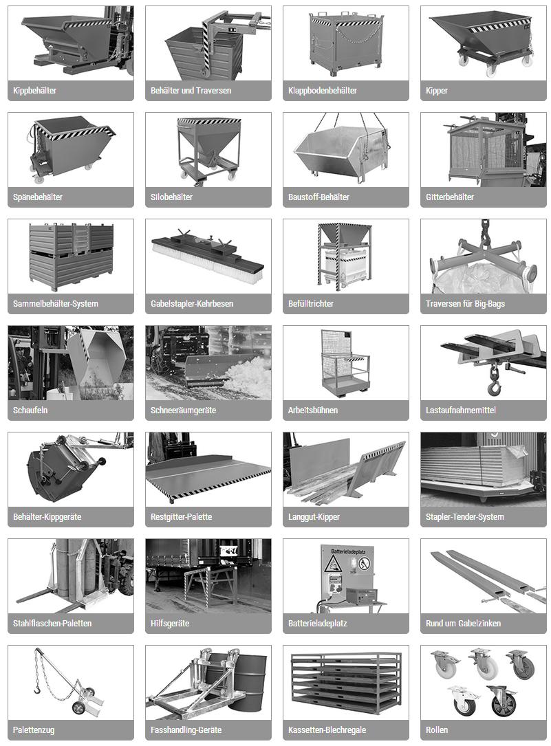 Anbaugeräte für Gabelstapler (Stapler-Anbaugeräte), Baumaschinen (Radlader) liefert schnell und günstig GET Gabelstapler-Ersatzteile W. Theobald, Bad Berka (Thüringen)