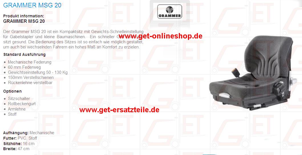 Sitz Radlader, Minibagger,Grammer, Maximo, ISRI, KAB, Fahrersitz GET Gabelstapler-Ersatzteile