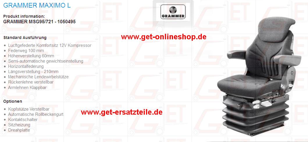 Sitz, Sitzkissen, Beckengurt, geeignet für Jungheinrich, Linde, Komatsu, von GET Gabelstapler-Ersatzteile