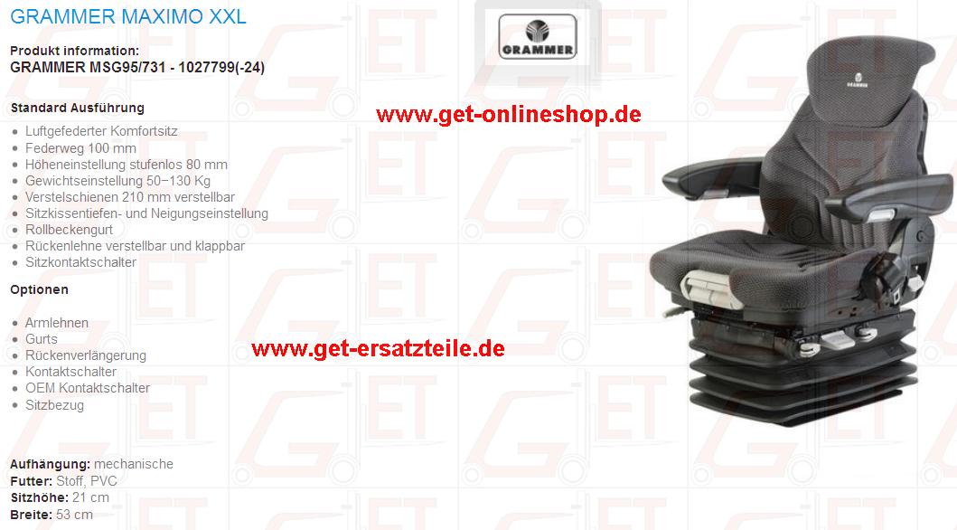 Fahrersitze von Grammer: Maximo XXL MSG95/731,  XXL MSG95 731, XM MSG85 731, M MSG85 721 , L MSG95 721, Comfort Plus MSG95A 731, MSG20 SM 135672 135671, MSG20 PVC Stoff, MSG75G 731, B12 geeignet für Gabelstapler, Baumaschinen und Trakoren von GET Gabelstapler – Ersatzteile & Transportgeräte 99438 Bad Berka Thüringen