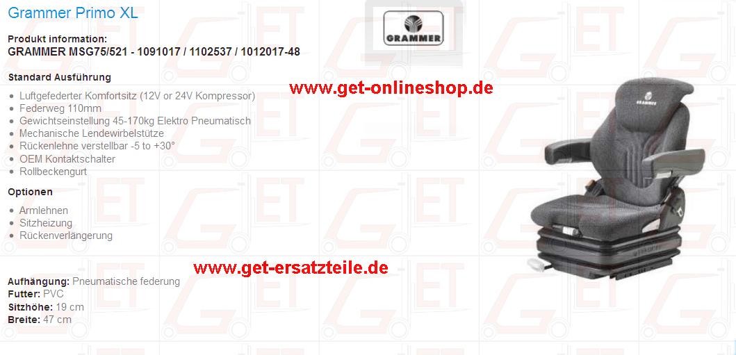 Grammer, ISRI, KAB, PVC, Stoff, von GET Gabelstapler-Ersatzteile & Transportgeräte Bad Berka, Thüringen, Weimarer Land