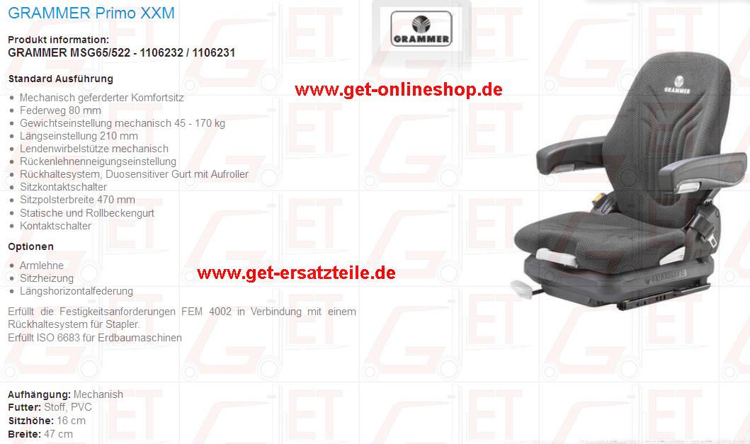 Fahrersitze, Rückenlehne, Mechanisch oder luftgefedert, Armlehne, Sitzpolster, Rückenpolster, Grammer, Ersatzteile