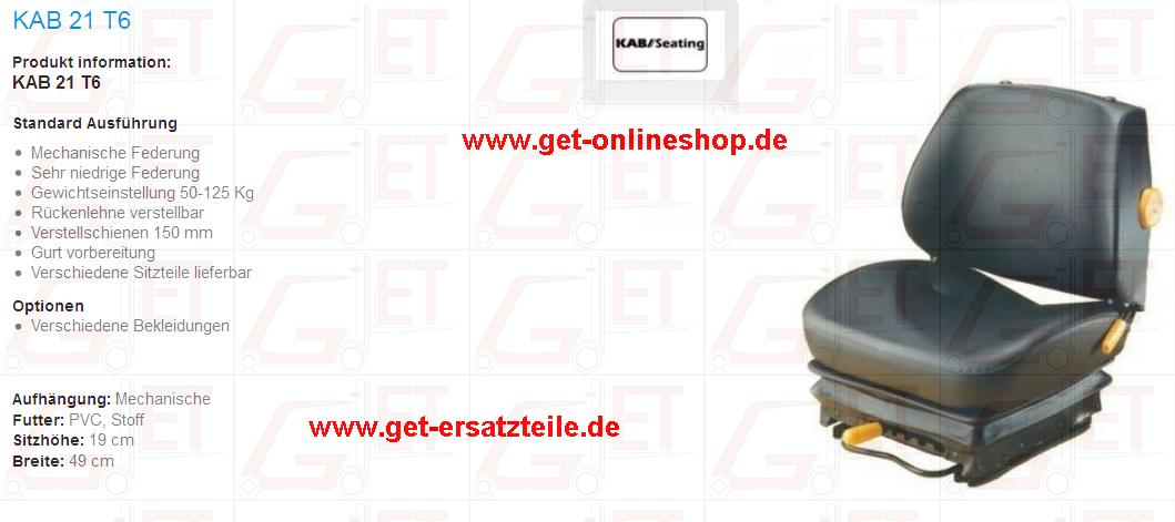 Fahrersitze von KAB geeignet für Gabelstapler, Baumaschinen und Trakoren von GET Gabelstapler – Ersatzteile & Transportgeräte 99438 Bad Berka Thüringen