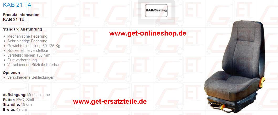 Sitz , Baumaschine, Radlader, Sitzkissen, Rückenlehne, Fahrersitz von GET Gabelstapler_Ersatzteile